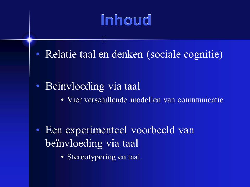 Inhoud Relatie taal en denken (sociale cognitie) Beïnvloeding via taal Vier verschillende modellen van communicatie Een experimenteel voorbeeld van be