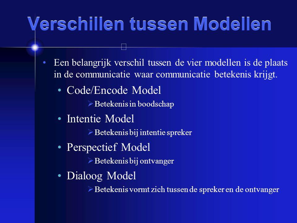 Verschillen tussen Modellen Een belangrijk verschil tussen de vier modellen is de plaats in de communicatie waar communicatie betekenis krijgt. Code/E