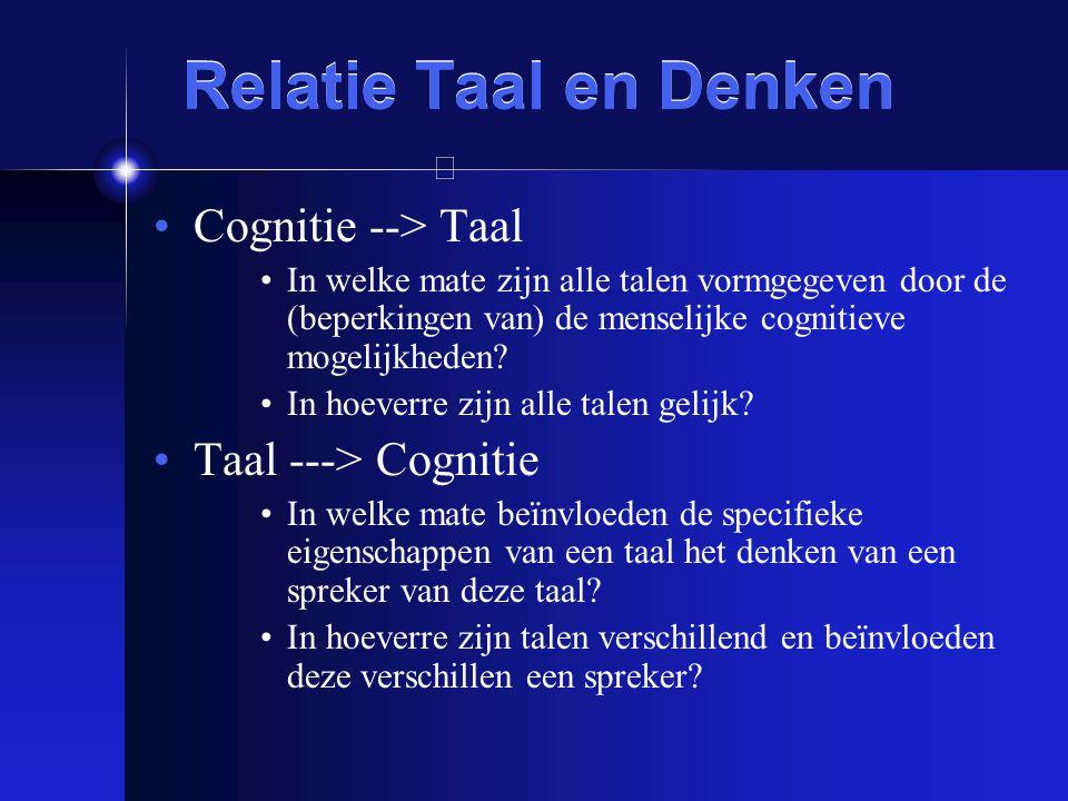Relatie Taal en Denken Cognitie --> Taal In welke mate zijn alle talen vormgegeven door de (beperkingen van) de menselijke cognitieve mogelijkheden? I