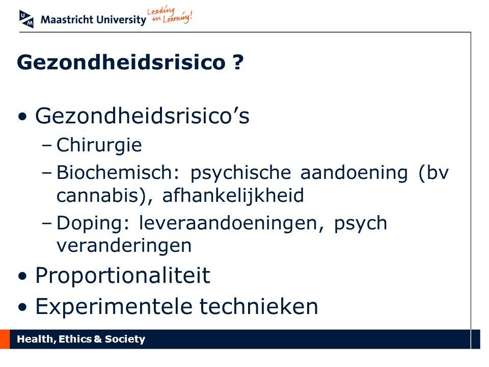 Health, Ethics & Society Gezondheidsrisico ? Gezondheidsrisico's –Chirurgie –Biochemisch: psychische aandoening (bv cannabis), afhankelijkheid –Doping
