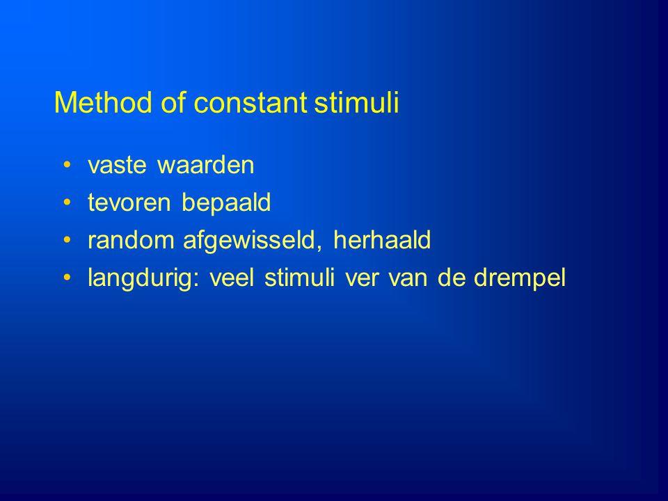 Method of constant stimuli vaste waarden tevoren bepaald random afgewisseld, herhaald langdurig: veel stimuli ver van de drempel