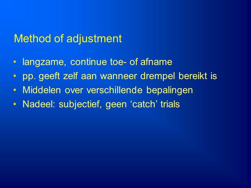 Method of adjustment langzame, continue toe- of afname pp. geeft zelf aan wanneer drempel bereikt is Middelen over verschillende bepalingen Nadeel: su
