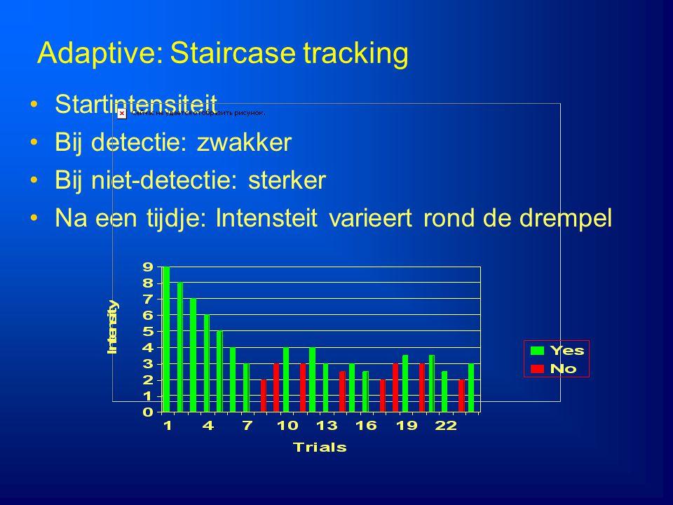 Adaptive: Staircase tracking Startintensiteit Bij detectie: zwakker Bij niet-detectie: sterker Na een tijdje: Intensteit varieert rond de drempel