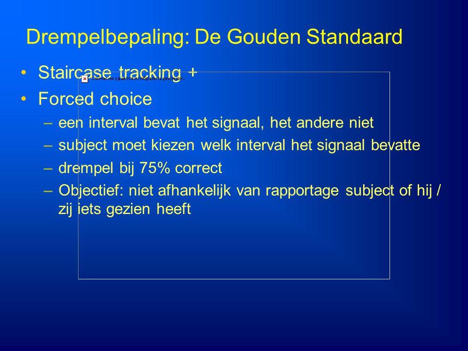 Drempelbepaling: De Gouden Standaard Staircase tracking + Forced choice –een interval bevat het signaal, het andere niet –subject moet kiezen welk int
