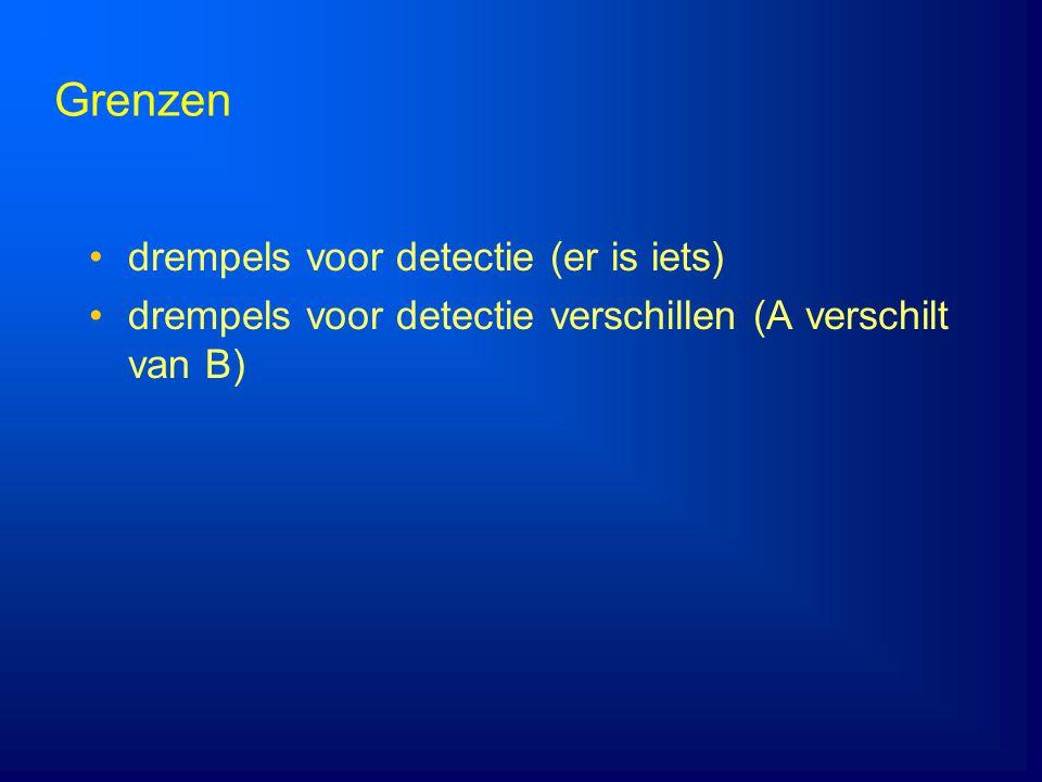 Grenzen drempels voor detectie (er is iets) drempels voor detectie verschillen (A verschilt van B)