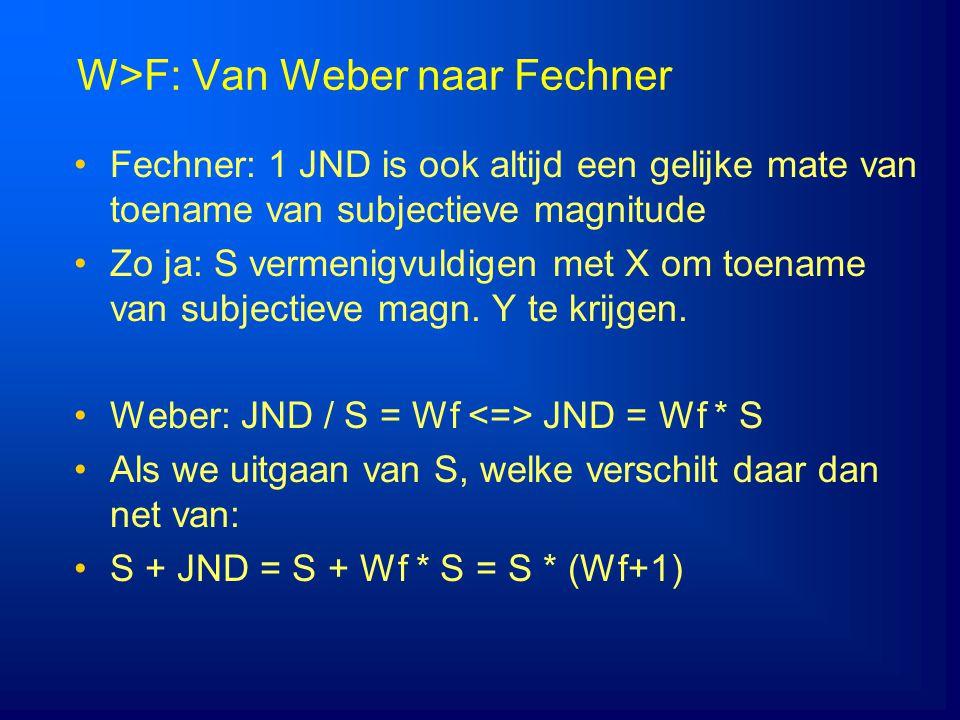 W>F: Van Weber naar Fechner Fechner: 1 JND is ook altijd een gelijke mate van toename van subjectieve magnitude Zo ja: S vermenigvuldigen met X om toe