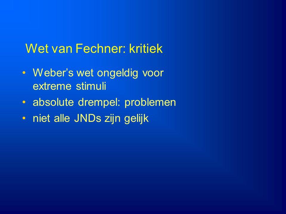 Wet van Fechner: kritiek Weber's wet ongeldig voor extreme stimuli absolute drempel: problemen niet alle JNDs zijn gelijk
