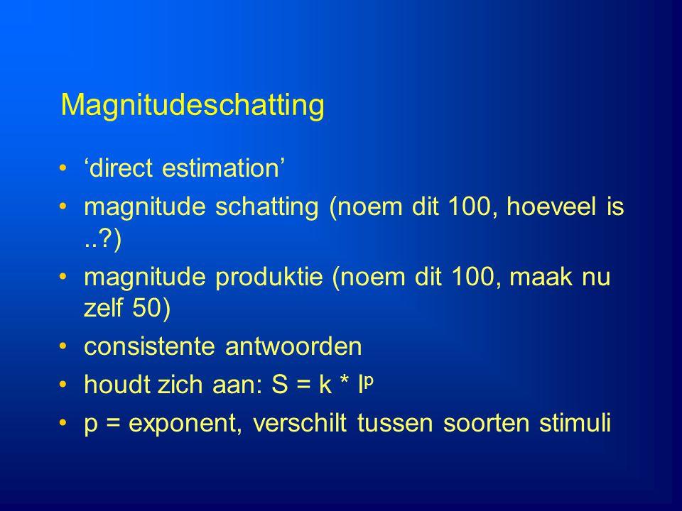 Magnitudeschatting 'direct estimation' magnitude schatting (noem dit 100, hoeveel is..?) magnitude produktie (noem dit 100, maak nu zelf 50) consisten