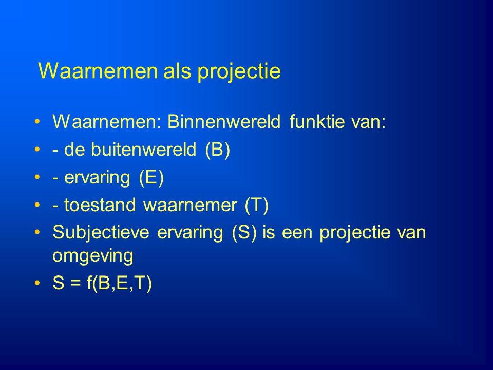Waarnemen als projectie Waarnemen: Binnenwereld funktie van: - de buitenwereld (B) - ervaring (E) - toestand waarnemer (T) Subjectieve ervaring (S) is