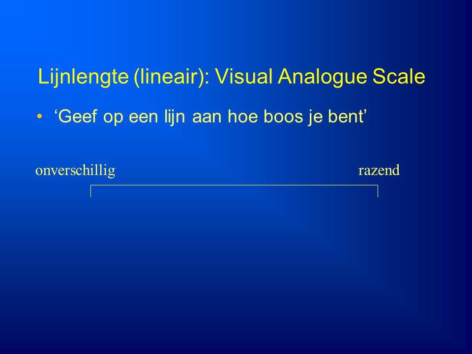 Lijnlengte (lineair): Visual Analogue Scale 'Geef op een lijn aan hoe boos je bent' onverschilligrazend