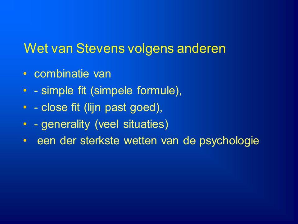 Wet van Stevens volgens anderen combinatie van - simple fit (simpele formule), - close fit (lijn past goed), - generality (veel situaties) een der ste