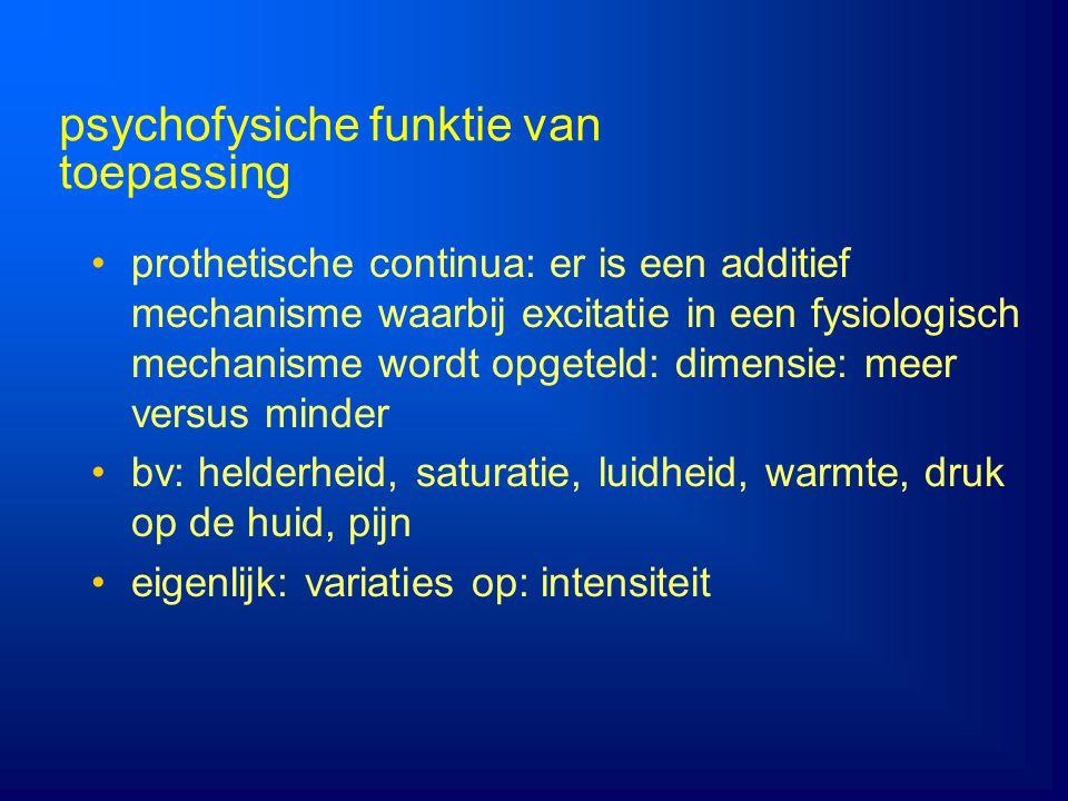 prothetische continua: er is een additief mechanisme waarbij excitatie in een fysiologisch mechanisme wordt opgeteld: dimensie: meer versus minder bv: