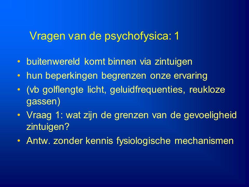 Vragen van de psychofysica: 1 buitenwereld komt binnen via zintuigen hun beperkingen begrenzen onze ervaring (vb golflengte licht, geluidfrequenties,