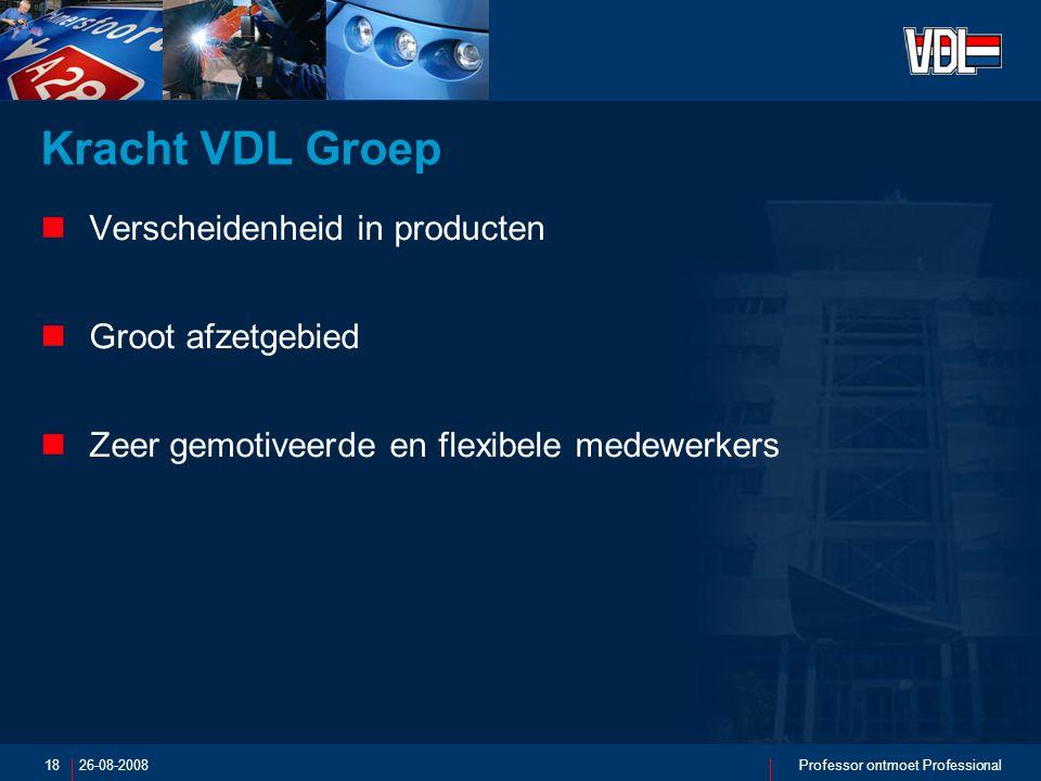 26-08-2008Professor ontmoet Professional18 Kracht VDL Groep Verscheidenheid in producten Groot afzetgebied Zeer gemotiveerde en flexibele medewerkers