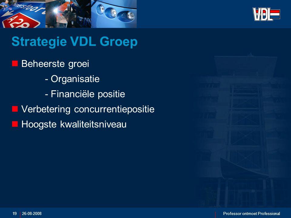 26-08-2008Professor ontmoet Professional19 Strategie VDL Groep Beheerste groei - Organisatie - Financiële positie Verbetering concurrentiepositie Hoogste kwaliteitsniveau