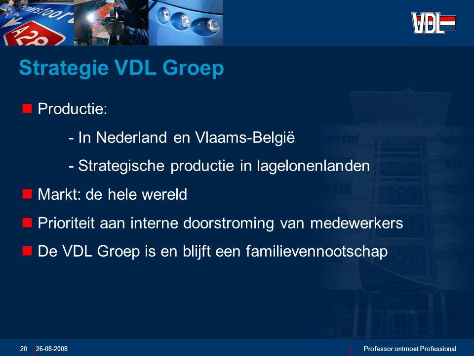 26-08-2008Professor ontmoet Professional20 Strategie VDL Groep Productie: - In Nederland en Vlaams-België - Strategische productie in lagelonenlanden Markt: de hele wereld Prioriteit aan interne doorstroming van medewerkers De VDL Groep is en blijft een familievennootschap