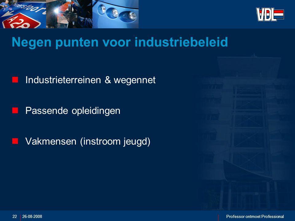 26-08-2008Professor ontmoet Professional22 Negen punten voor industriebeleid Industrieterreinen & wegennet Passende opleidingen Vakmensen (instroom jeugd)