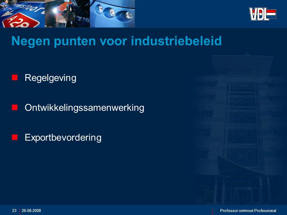 26-08-2008Professor ontmoet Professional23 Negen punten voor industriebeleid Regelgeving Ontwikkelingssamenwerking Exportbevordering