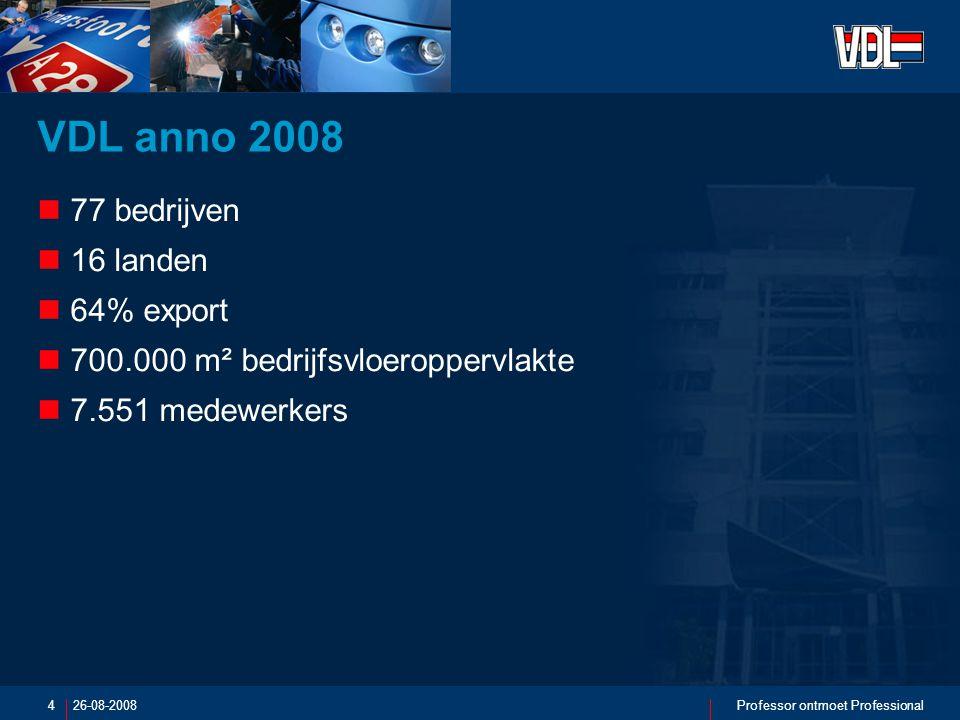 26-08-2008Professor ontmoet Professional4 VDL anno 2008 77 bedrijven 16 landen 64% export 700.000 m² bedrijfsvloeroppervlakte 7.551 medewerkers