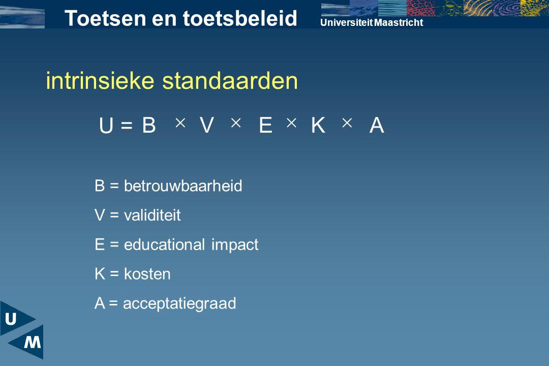 Universiteit Maastricht Toetsen en toetsbeleid U = BVEKA  B = betrouwbaarheid V = validiteit E = educational impact K = kosten A = acceptatiegraad