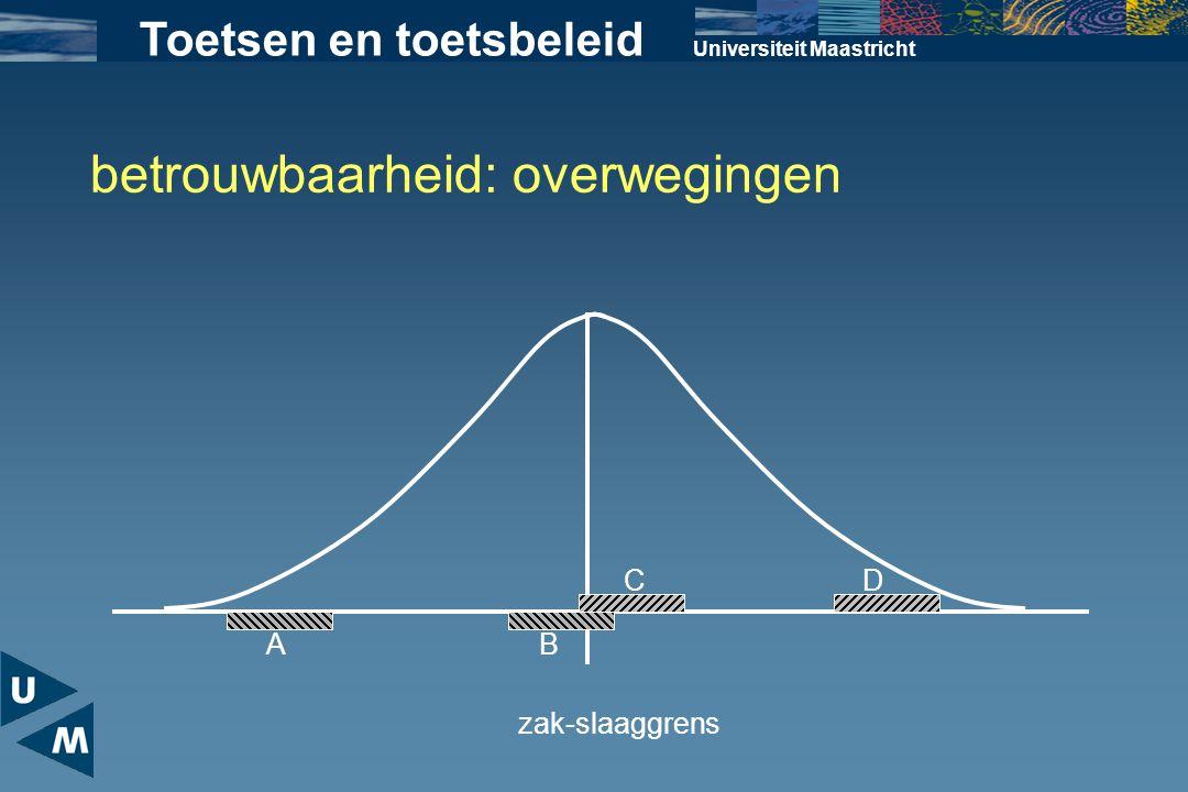 Universiteit Maastricht Toetsen en toetsbeleid betrouwbaarheid: overwegingen zak-slaaggrens A B CD
