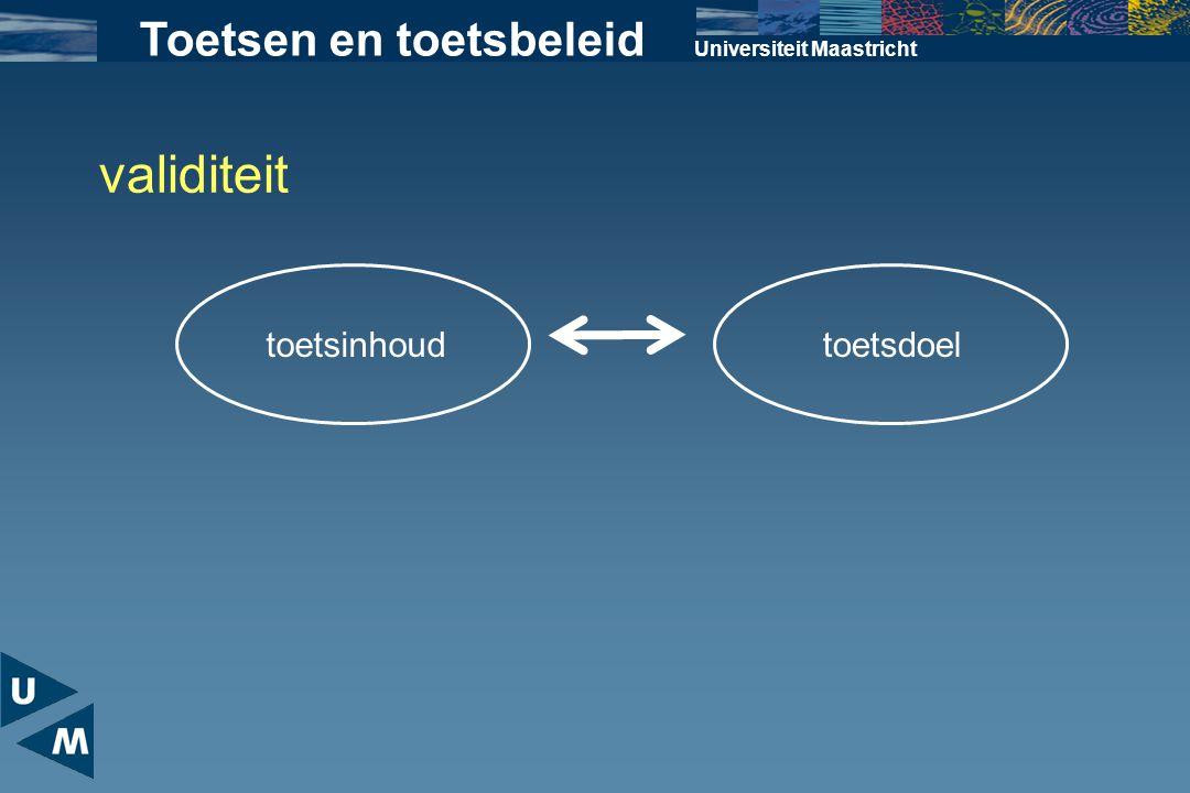 Universiteit Maastricht Toetsen en toetsbeleid validiteit toetsdoeltoetsinhoud