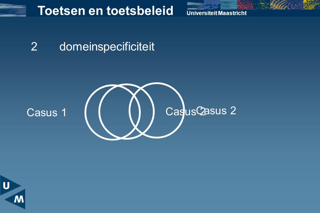 Universiteit Maastricht Toetsen en toetsbeleid Casus 1 Casus 2 2domeinspecificiteit