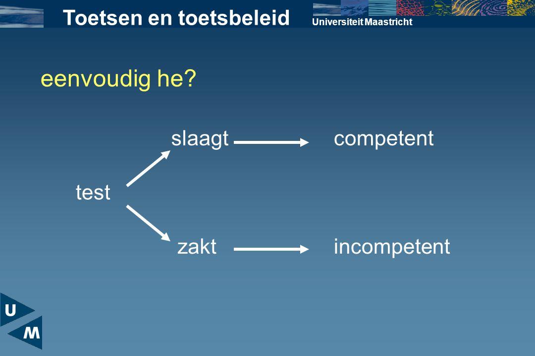 Universiteit Maastricht eenvoudig he? Toetsen en toetsbeleid test slaagt zakt competent incompetent