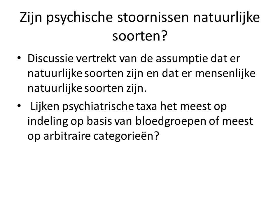 Zijn psychische stoornissen natuurlijke soorten? Discussie vertrekt van de assumptie dat er natuurlijke soorten zijn en dat er mensenlijke natuurlijke