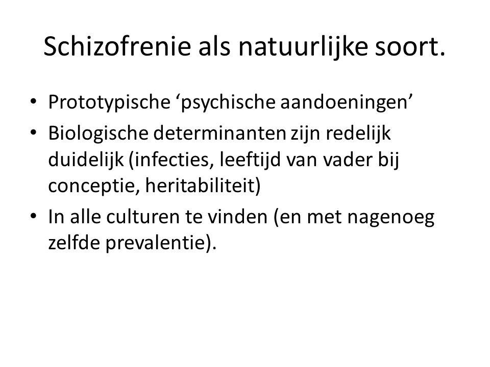 Schizofrenie als natuurlijke soort. Prototypische 'psychische aandoeningen' Biologische determinanten zijn redelijk duidelijk (infecties, leeftijd van