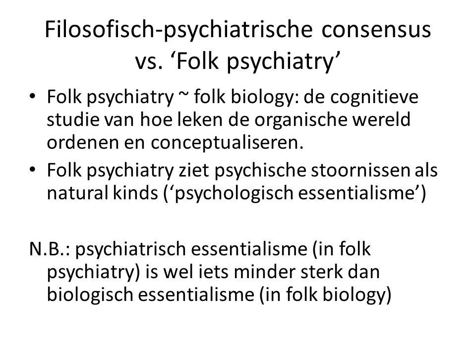 Filosofisch-psychiatrische consensus vs. 'Folk psychiatry' Folk psychiatry ~ folk biology: de cognitieve studie van hoe leken de organische wereld ord