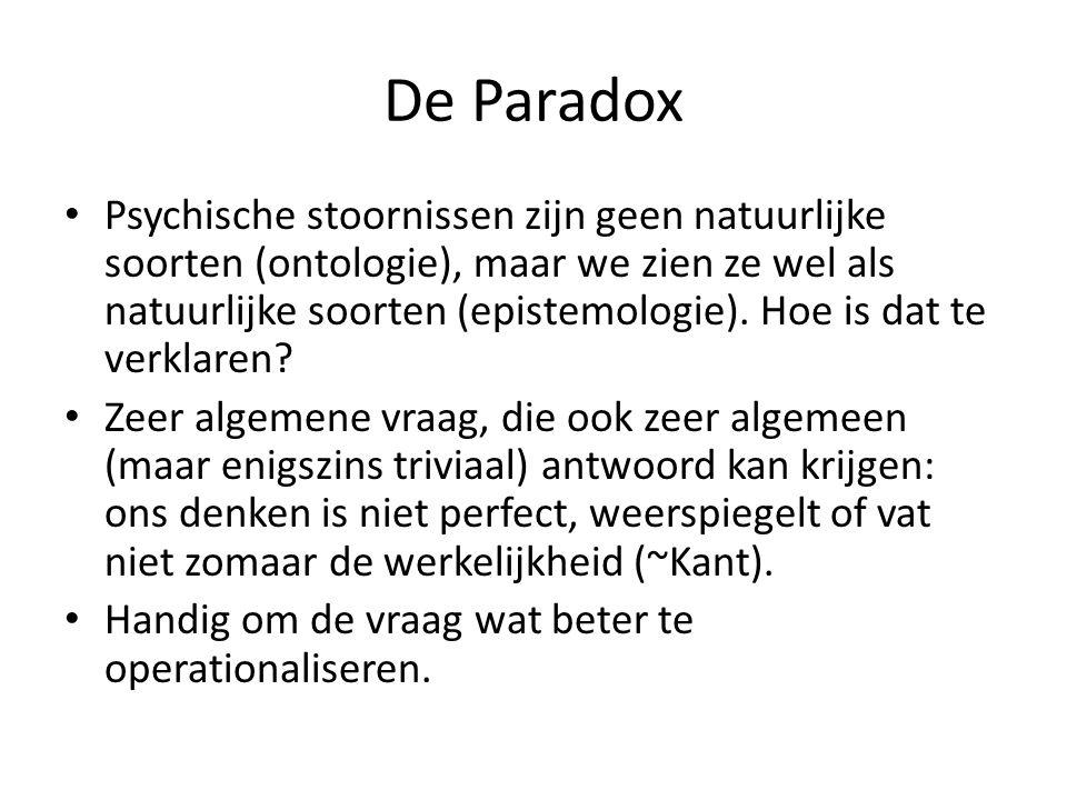De Paradox Psychische stoornissen zijn geen natuurlijke soorten (ontologie), maar we zien ze wel als natuurlijke soorten (epistemologie). Hoe is dat t