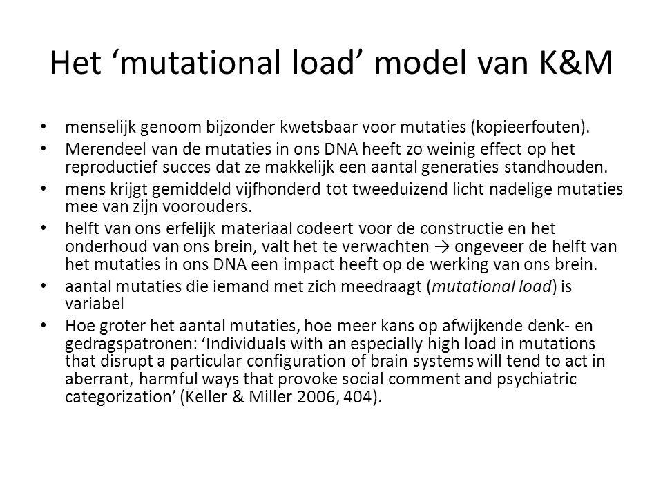 Het 'mutational load' model van K&M menselijk genoom bijzonder kwetsbaar voor mutaties (kopieerfouten). Merendeel van de mutaties in ons DNA heeft zo