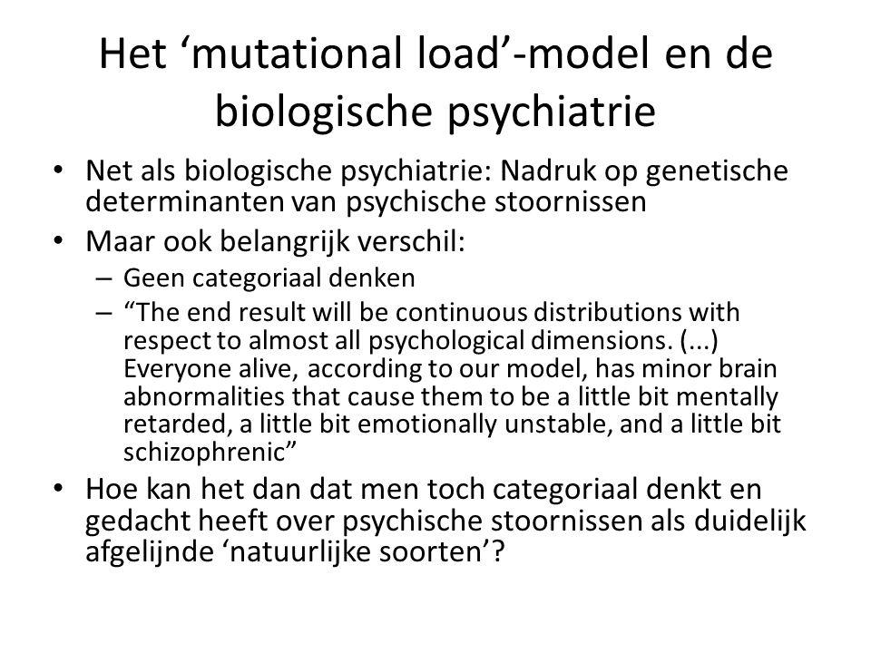 Het 'mutational load'-model en de biologische psychiatrie Net als biologische psychiatrie: Nadruk op genetische determinanten van psychische stoorniss