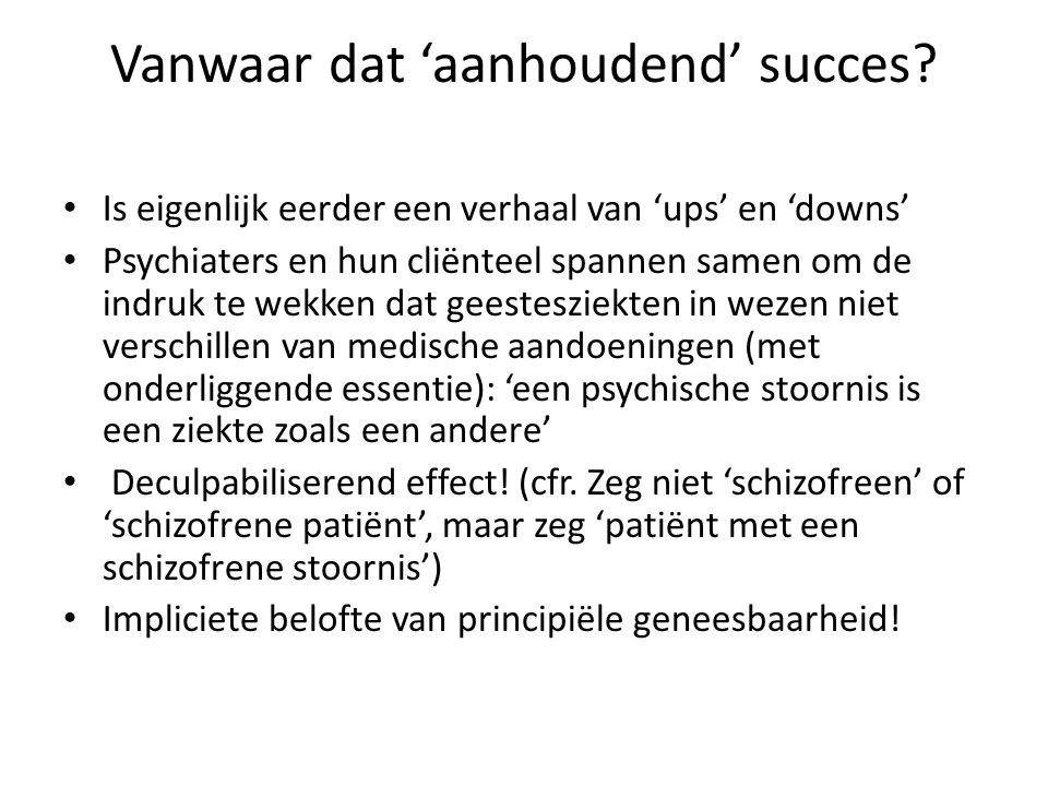 Vanwaar dat 'aanhoudend' succes? Is eigenlijk eerder een verhaal van 'ups' en 'downs' Psychiaters en hun cliënteel spannen samen om de indruk te wekke