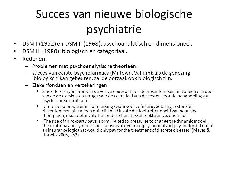 Succes van nieuwe biologische psychiatrie DSM I (1952) en DSM II (1968): psychoanalytisch en dimensioneel. DSM III (1980): biologisch en categoriaal.