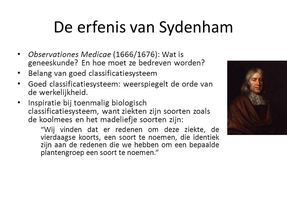 Sydenham vandaag Doorwerkende invloed van Sydenham op hedendaagse geneeskunde Zelfs op medische subdisciplines die pas nadien ontstonden, zoals psychiatrie Hedendaagse psychiatrische classificatiesystemen (bvb.