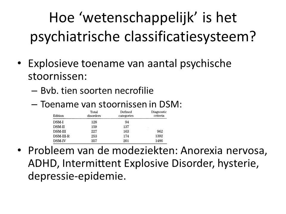 Hoe 'wetenschappelijk' is het psychiatrische classificatiesysteem? Explosieve toename van aantal psychische stoornissen: – Bvb. tien soorten necrofili