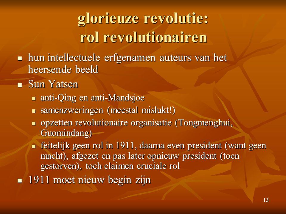 13 glorieuze revolutie: rol revolutionairen hun intellectuele erfgenamen auteurs van het heersende beeld hun intellectuele erfgenamen auteurs van het