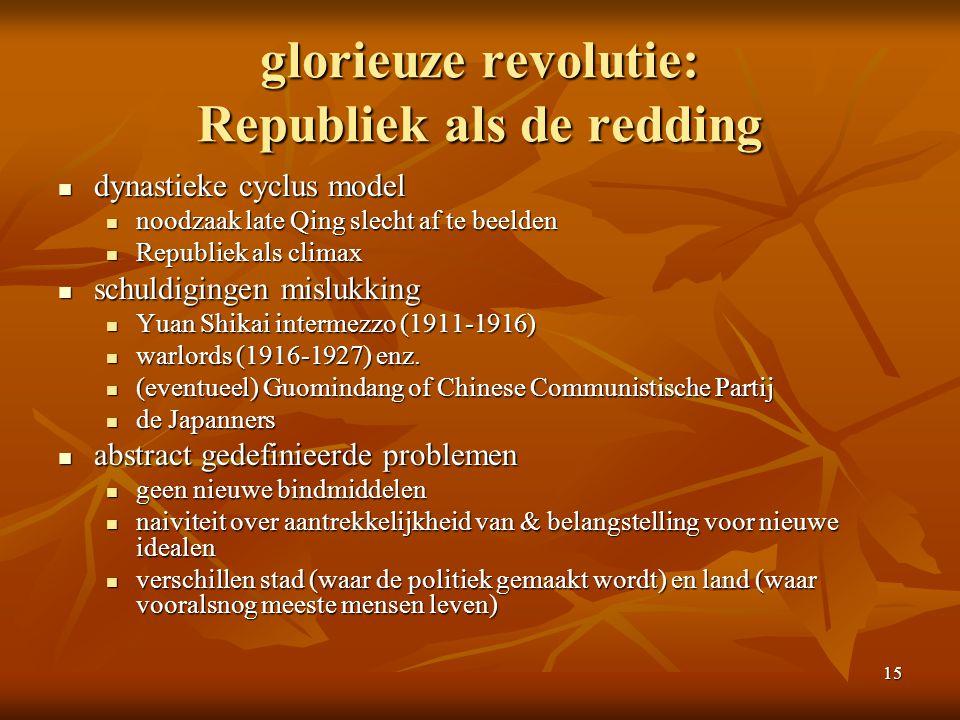 15 glorieuze revolutie: Republiek als de redding dynastieke cyclus model dynastieke cyclus model noodzaak late Qing slecht af te beelden noodzaak late