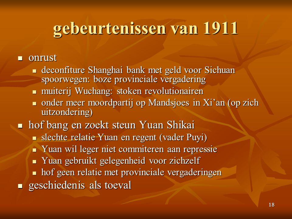 18 gebeurtenissen van 1911 onrust onrust deconfiture Shanghai bank met geld voor Sichuan spoorwegen: boze provinciale vergadering deconfiture Shanghai