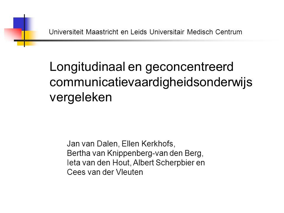 Longitudinaal en geconcentreerd communicatievaardigheidsonderwijs vergeleken Jan van Dalen, Ellen Kerkhofs, Bertha van Knippenberg-van den Berg, Ieta