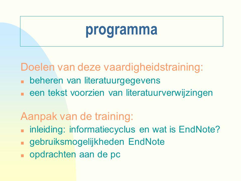 programma Doelen van deze vaardigheidstraining: n beheren van literatuurgegevens n een tekst voorzien van literatuurverwijzingen Aanpak van de training: n inleiding: informatiecyclus en wat is EndNote.