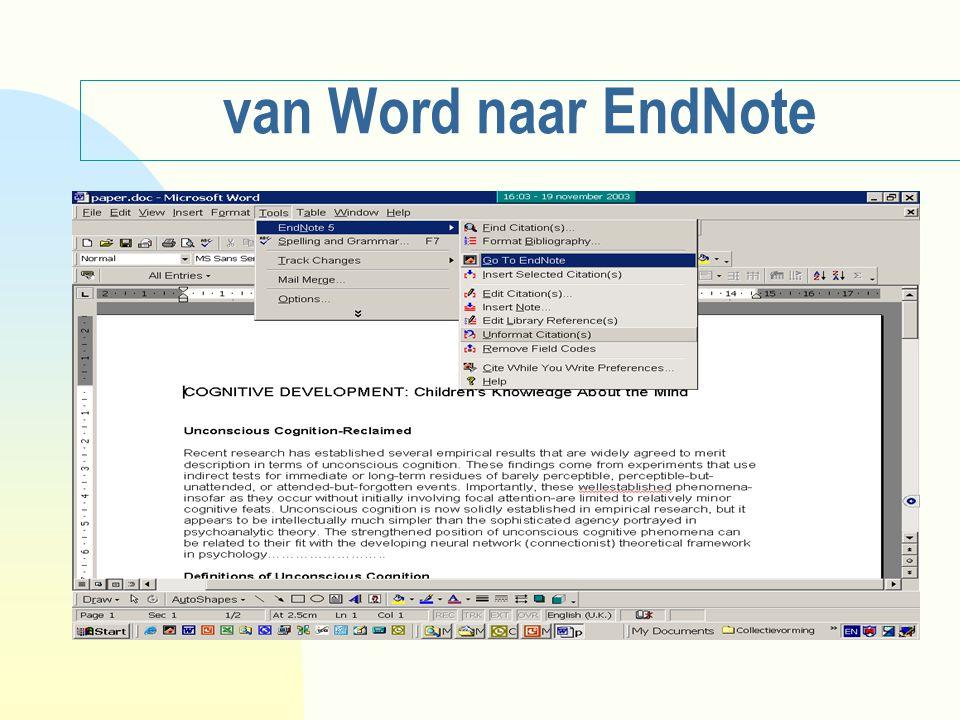 van Word naar EndNote