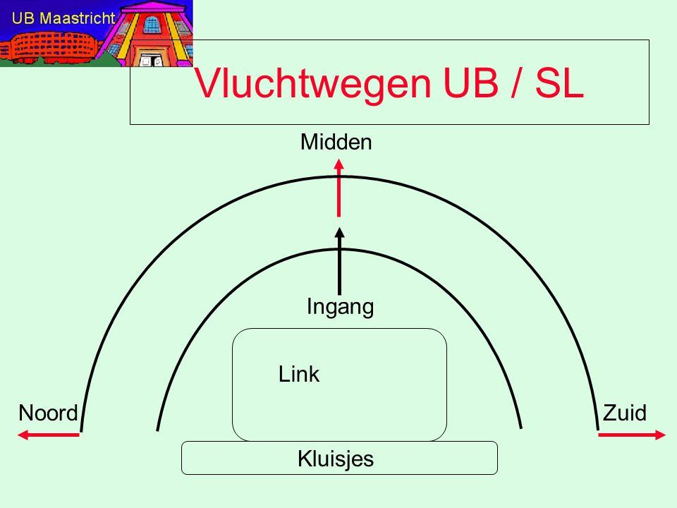 Vluchtwegen UB / SL Midden Zuid Ingang Kluisjes Link Noord
