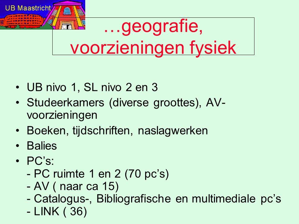 …geografie, voorzieningen fysiek UB nivo 1, SL nivo 2 en 3 Studeerkamers (diverse groottes), AV- voorzieningen Boeken, tijdschriften, naslagwerken Bal