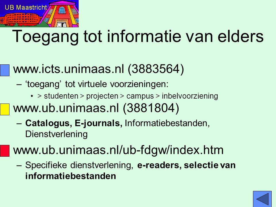 Toegang tot informatie van elders www.icts.unimaas.nl (3883564) –'toegang' tot virtuele voorzieningen: > studenten > projecten > campus > inbelvoorzie
