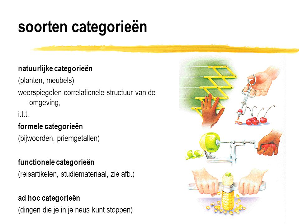 structuur binnen categorieën - 1 modellen 1-3 suggereren stabiele mentale representatie probleem: concepten veranderen in de tijd: er is geen stabiele mentale representatie van categorieën vgl.
