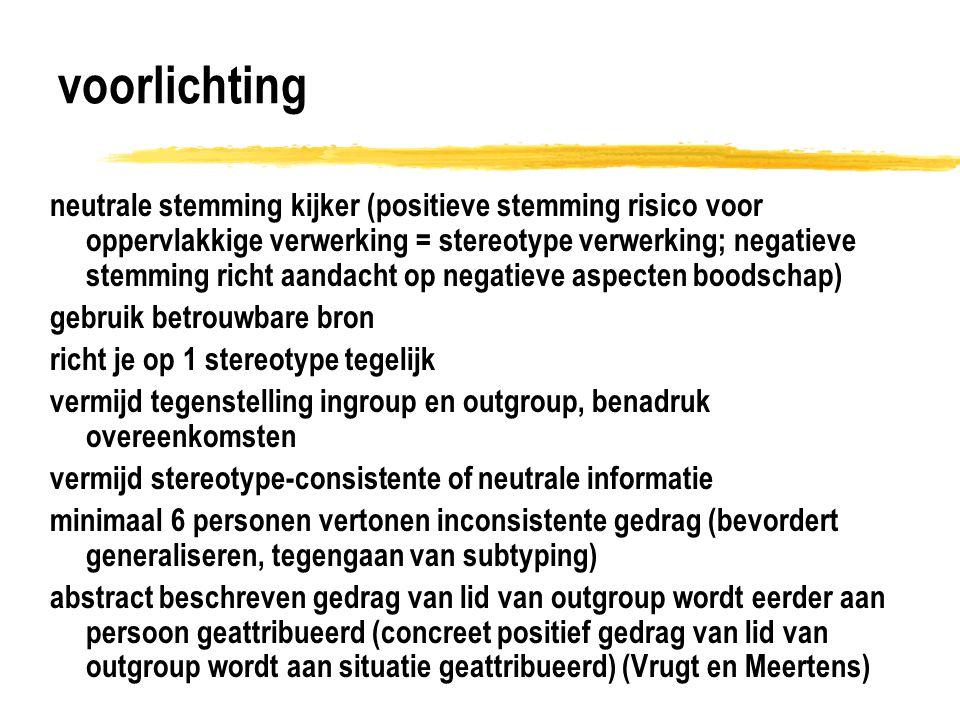 voorlichting neutrale stemming kijker (positieve stemming risico voor oppervlakkige verwerking = stereotype verwerking; negatieve stemming richt aanda