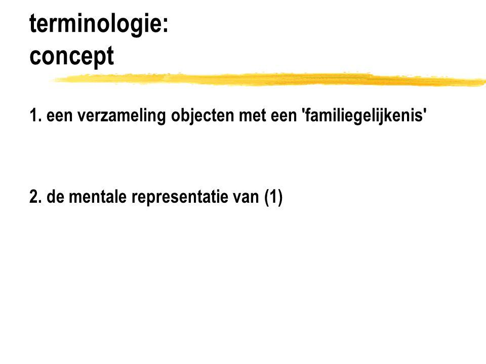 terminologie: conceptverwerving conceptvorming abstractie van verzameling kenmerken bijv.